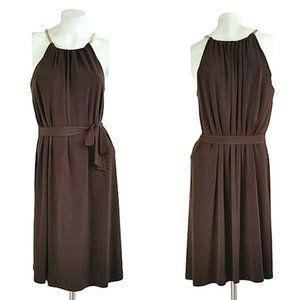 Michael Kors Brown Halter Belted Cocktail Dress